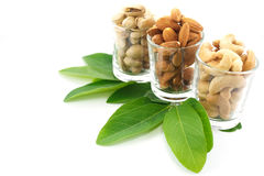 Nuts in glass Royalty Free Stock Images