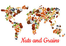 Nuts and grains in world map shape Royalty Free Stock Images