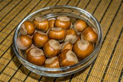 Nuts. Hazel (Corylus sp.) nuts, shells on a brown texture background stock photos