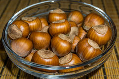 Nuts. Hazel (Corylus sp.) nuts, shells on a brown texture background royalty free stock photos
