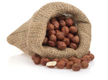 Nuts hazelnut in bag on white Royalty Free Stock Photos
