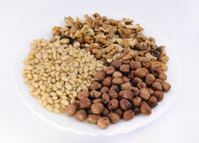 Nuts: hazelnut, walnut,  cedar Royalty Free Stock Image