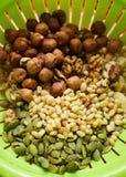 Nuts. Hazelnut, walnut, pine nuts, pumpkin seed in a green stubble stock image