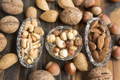 Nuts, Hazelnuts, Almonds and Cashews Stock Photos