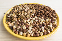 Nuts, Hazelnuts, Almonds and Walnuts Royalty Free Stock Photography