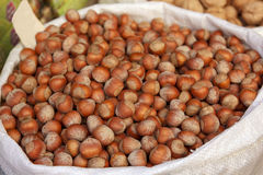 Nuts, hazelnuts in bag Stock Photos