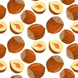 Nuts hazelnuts. Vector seamless pattern with infinitely repeated elements. Nuts hazelnuts cartoon. Vector seamless pattern with infinitely repeating elements Stock Image