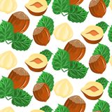 Nuts hazelnuts. Vector seamless pattern with infinitely repeated elements. Nuts hazelnuts cartoon. Vector seamless pattern with infinitely repeating elements Stock Images
