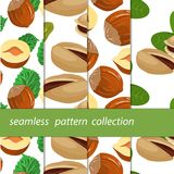 Nuts hazelnuts. Vector seamless pattern with infinitely repeated elements. Set of paintings under the mask. Four seamless linen nuts hazelnuts cartoon. Vector Royalty Free Stock Photography