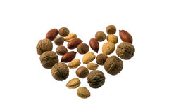 Nuts heart Royalty Free Stock Photos