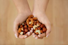Nuts Heart. Hands Holding Different Nuts royalty free stock photo