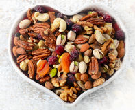 Nuts on heart plate. Healthy diet eating. Stock Photos