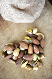 Nuts in heart shape Royalty Free Stock Photo