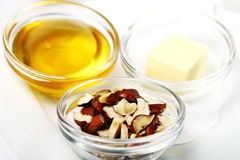 Nuts and honey Royalty Free Stock Photography