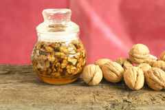 Nuts in honey Royalty Free Stock Image