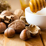 Nuts and honey for christmas cake Royalty Free Stock Image