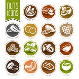 Nuts icon set Royalty Free Stock Photo