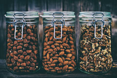 Nuts in jars Stock Image