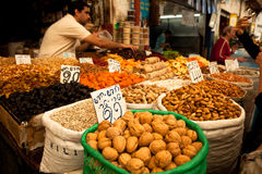 Nuts at Jerusalem Market. Nuts for sale in Jerusalem market stock images