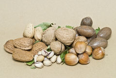 Nuts and leaves on brown background. Royalty Free Stock Images