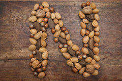 Nuts letter N Stock Photos