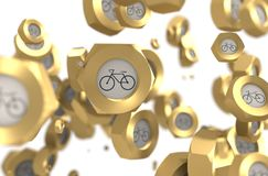 Nuts levitation group with bicycle icon Royalty Free Stock Images