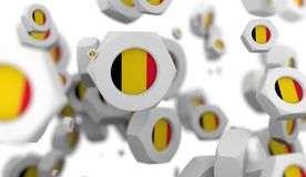 Nuts levitation group with flag of the Belgium Stock Image