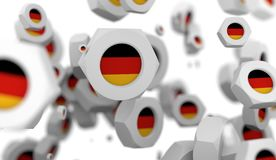 Nuts levitation group with flag of the Germany Royalty Free Stock Photos