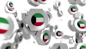 Nuts levitation group with flag of the Kuwait Stock Photo