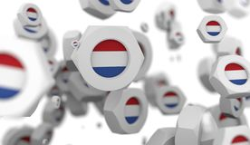 Nuts levitation group with flag of the Netherlands Stock Images