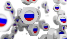 Nuts levitation group with flag of the Russia Stock Photography