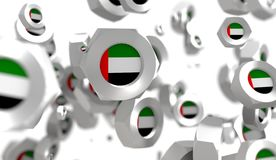 Nuts levitation group with flag of the United Arab Emirates Royalty Free Stock Photography