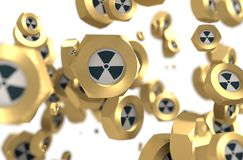 Nuts levitation group with nuclear danger icon Stock Photo