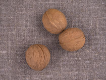 Nuts on linen background Royalty Free Stock Images