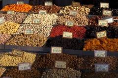Nuts market. Athens nuts  street market  at varvakeios Royalty Free Stock Image