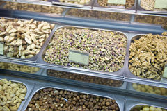 Nuts on a market stall Royalty Free Stock Photo