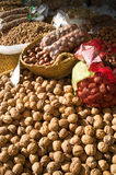 Nuts on a market stall Royalty Free Stock Photography