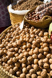 Nuts on a market stall for sale Stock Photos