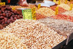 Nuts on market stand Stock Images