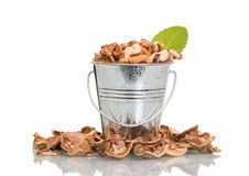 Nuts in metal bucket Stock Photography
