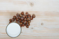 Nuts and milk Royalty Free Stock Image
