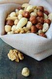 Nuts mix. Mix nuts - almonds, cashews hazelnuts walnuts royalty free stock photography
