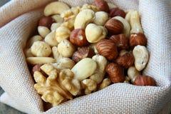Nuts mix. Mix nuts - almonds, cashews hazelnuts walnuts royalty free stock photos
