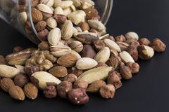 Nuts Mix on a Black Background Royalty Free Stock Photo