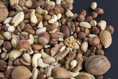 Nuts Mix on a Black Background Royalty Free Stock Photos