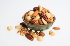 nuts or mix peanuts on a background. Stock Photos
