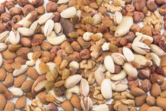 Nuts Mix and Raisins as Background Stock Image