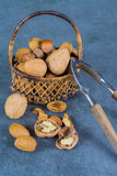 Nuts mix in shell - walnuts, hazel and almonds with nut chaker o Stock Photo