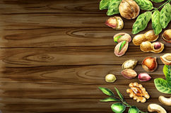Nuts mix top view on the border. Natural food. Watercolor hand-drawn  background Stock Photography