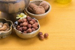 nuts. mixed nuts on the background Royalty Free Stock Photography